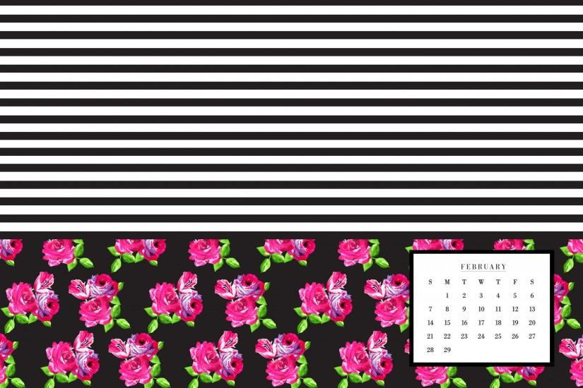 click here to download Floral Small Stripe Calendar Desktop
