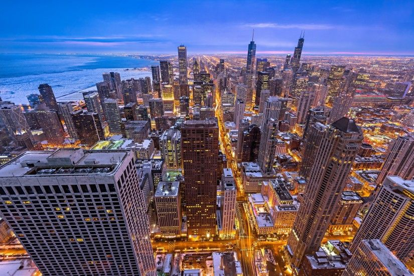 city, Winter, Chicago Wallpaper HD