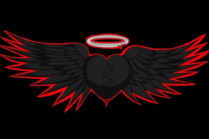 Black hearted angel wings wallpaper