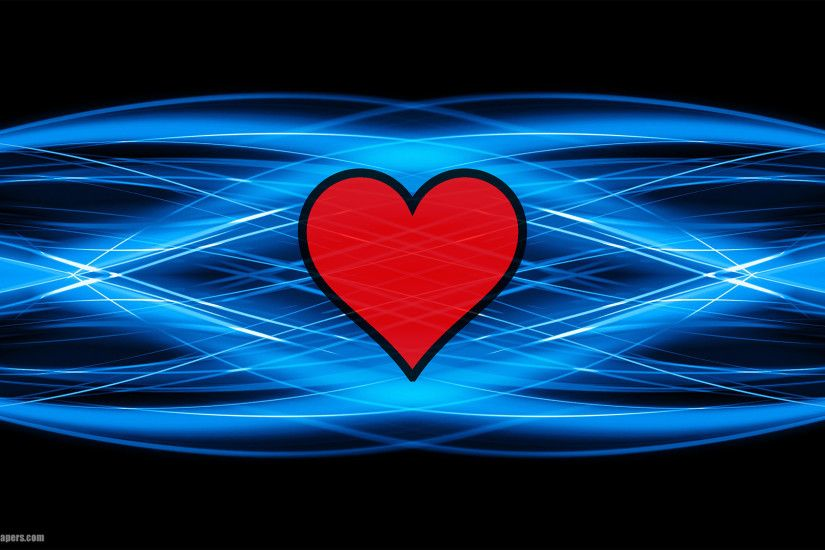 Black blue abstract background with red love heart in the middle, very  clean and modern abstract wallpaper. In HD quality resolution 1920x1080.