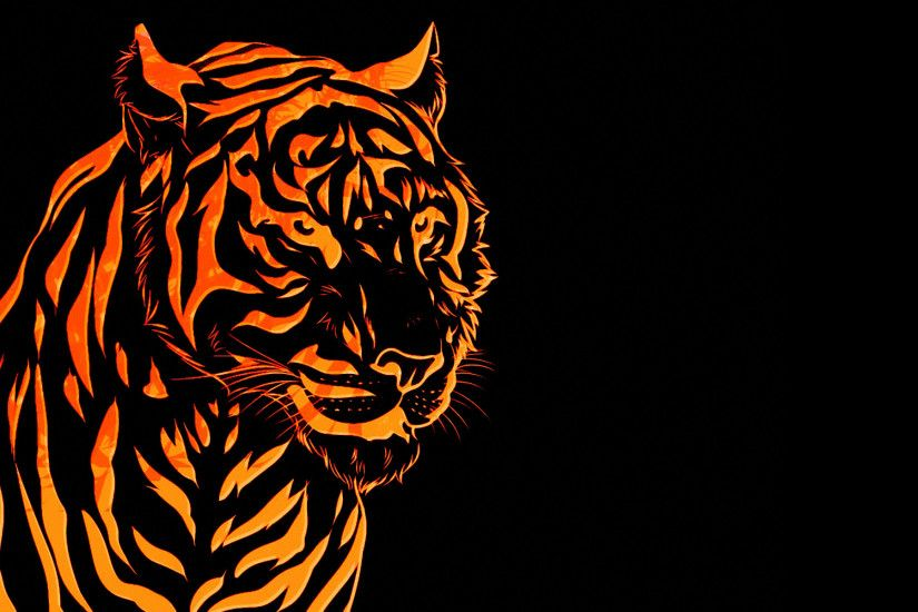 For those who love tigers! I made this as a pc wallpaper , drawn with  photoshop. Please give me feed back if you like this c) Fire Tiger wallpaper