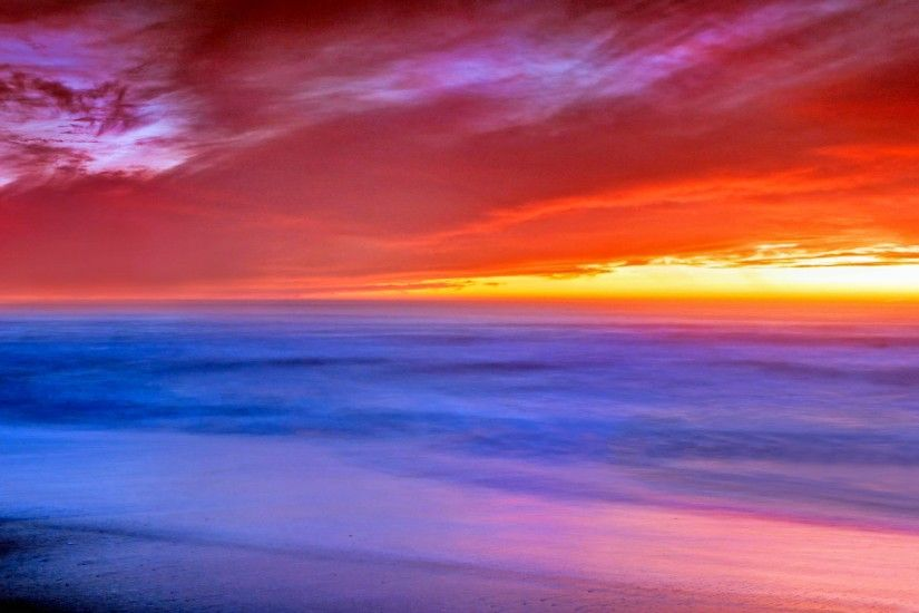Earth - Sunset Beach Cloud Sky Scenic Nature Colorful Horizon Wallpaper