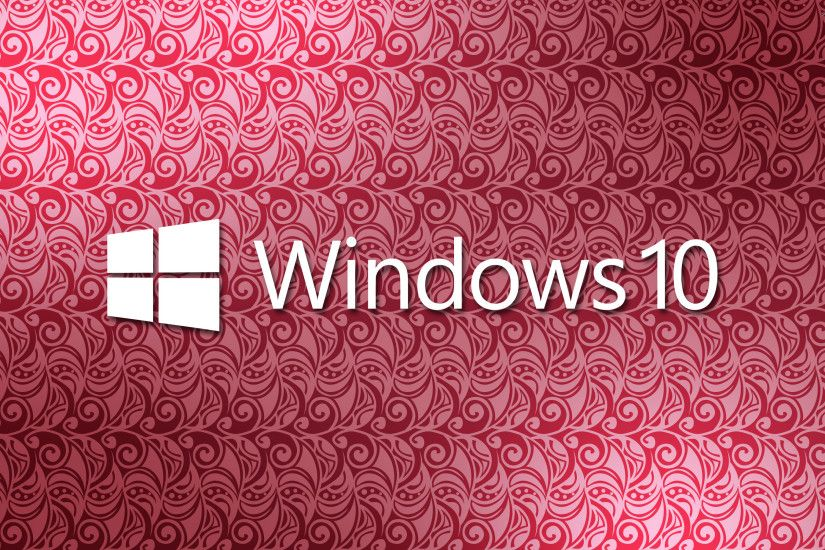 Windows 10 white text logo on a pink pattern wallpaper
