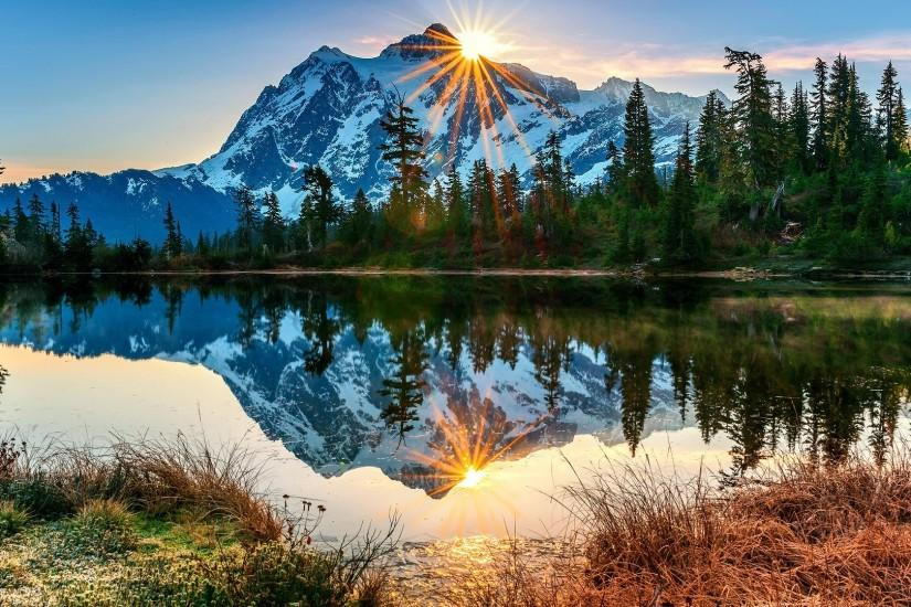 YouWall - Sunny Mountain Lake Wallpaper - wallpaper,wallpapers .