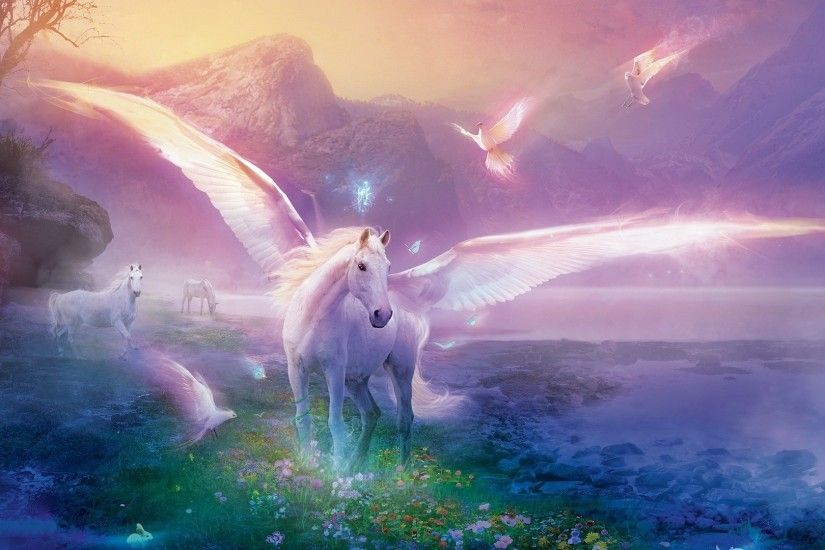 Preview wallpaper pegasus, horse, magic, flowers 1920x1080