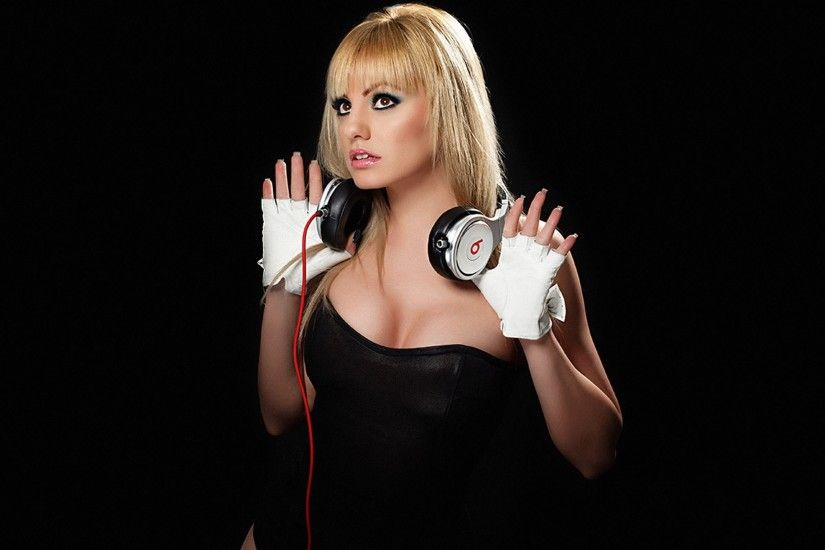 Alexandra Stan Beats By Dr.Dre Black Background Blondes Headphones Women