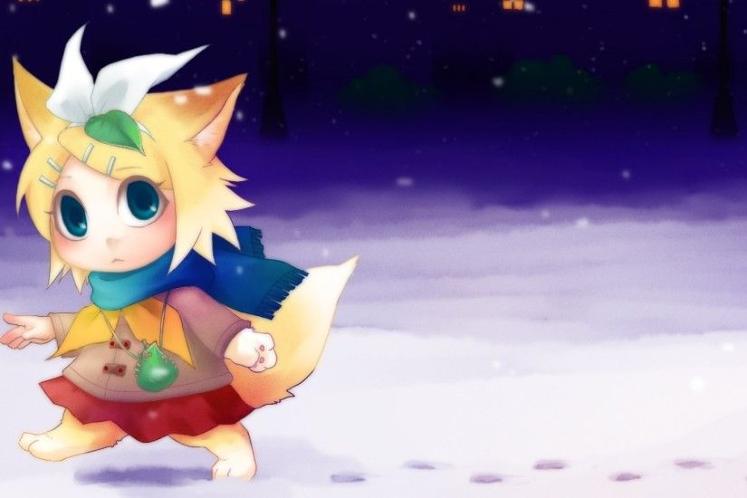2048x1152 Wallpaper vocaloid, kagamine rin, chibi, anime, christmas, winter
