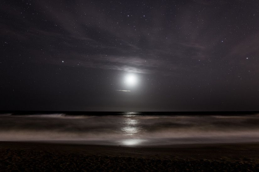 Stars Moonlight Ocean sea reflection sky waves beach night wallpaper |  1920x1200 | 104223 | WallpaperUP