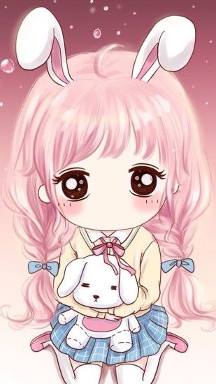 Girl Wallpaper, Iphone Wallpaper, Kawaii Chibi, Girl Illustrations,  Wallpapers, Anime, Hold Me, Rabbit, Scene