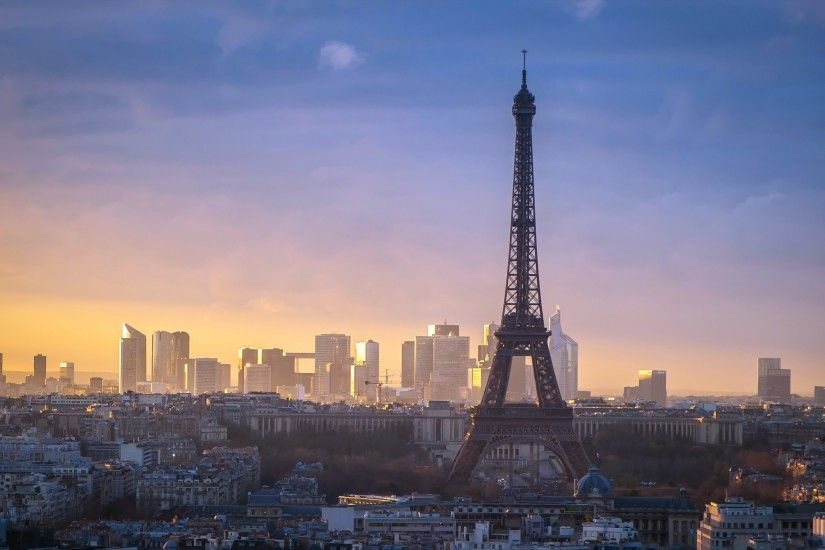Wallpaper Paris, Eiffel Tower, dawn, skyscrapers on the horizon, houses »  City, nature, landscapes - Free HD Desktop Wallpapers. Backgrounds of  cities and ...