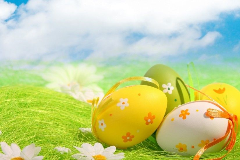Beautiful Easter Eggs Under Blue Sky Wallpaper