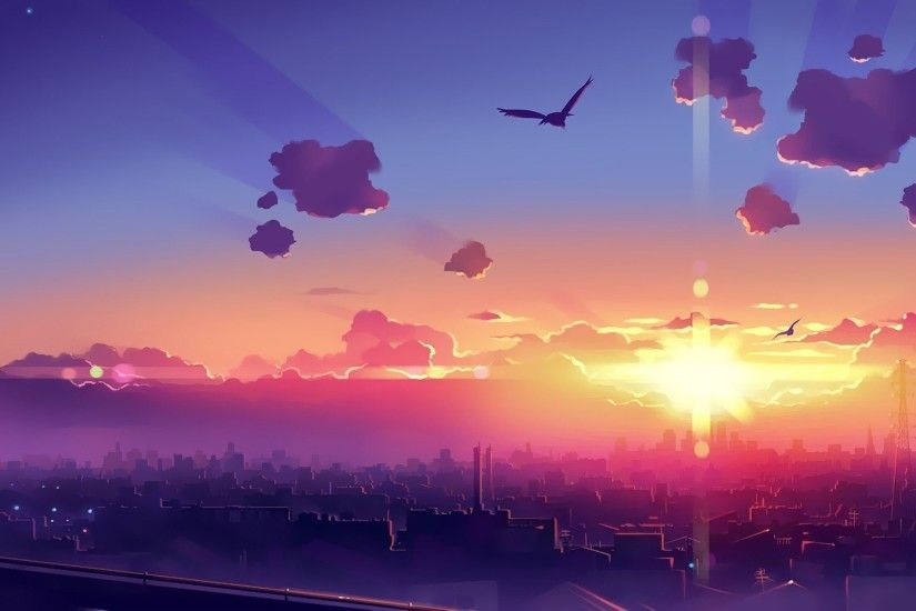 Anime-wallpaper-clouds-sun-birds-city-wallpapers-desktop-awesome.jpg