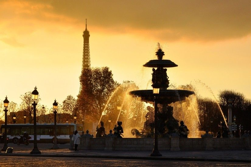 1920x1080 Wallpaper paris, france, fountains, lights, jets, water, drops,