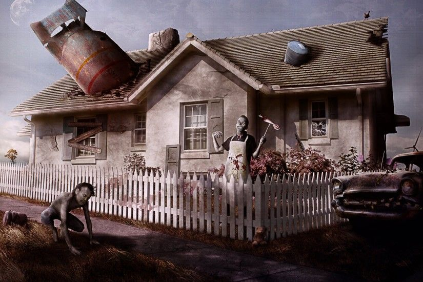 say welcom to your new neighbors zombie post-apocalypse house nuclear  missile barrels fence machine