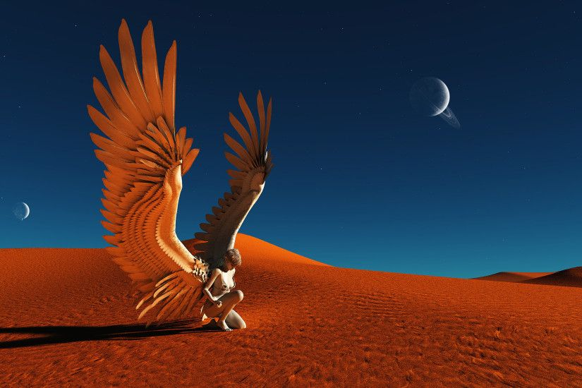 Angel Wings Desert Planets Fantasy Women Females Girls Landscapes Sand Dunes  Sky Planets Stars Moon Wallpaper At Fantasy Wallpapers