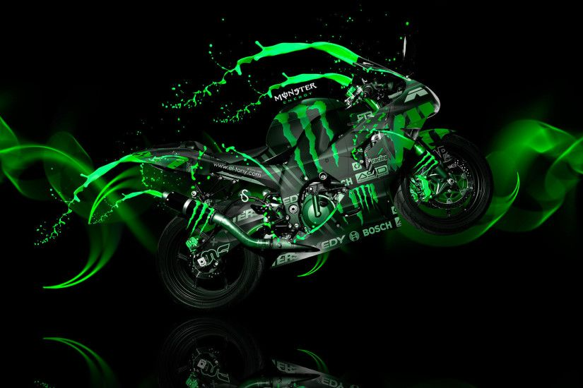 Monster Energy Moto Kawasaki Side Live Colors Bike 2014