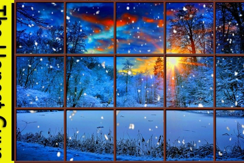 WINTER WINDOW SNOW SCENE (4K) - Living Wallpaper with Ambient Fireplace  Sounds - YouTube