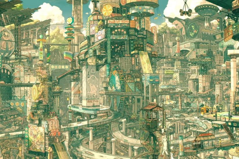 Anime Original Future City Asia Landscape Wallpaper