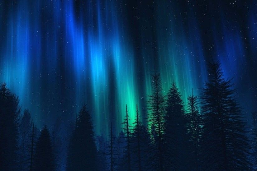 Blue Northern Lights Wallpaper HD - dlwallhd.