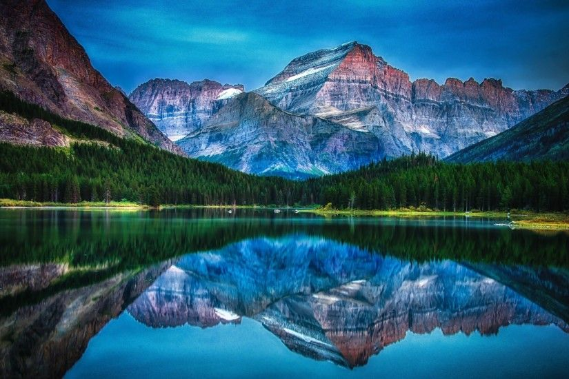 lake, Mountain, Forest, Reflection, Water, Sunrise, Morning, Summer, Glacier  National Park, Montana, Landscape, Nature Wallpapers HD / Desktop and  Mobile ...