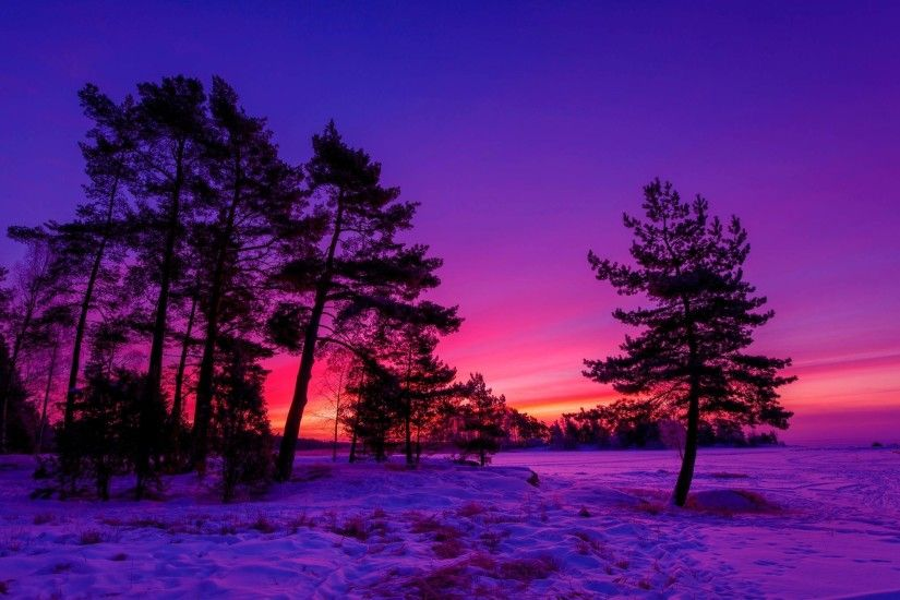 HD Winter Sunset Wallpaper | Download Free - 68105