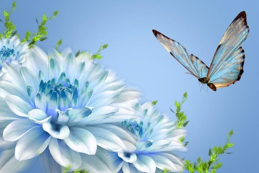 Wallpapers For > Blue Flower Wallpapers