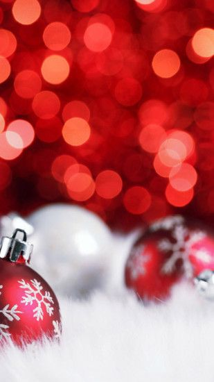 Christmas Red Balls Bokeh White Android Wallpaper free download
