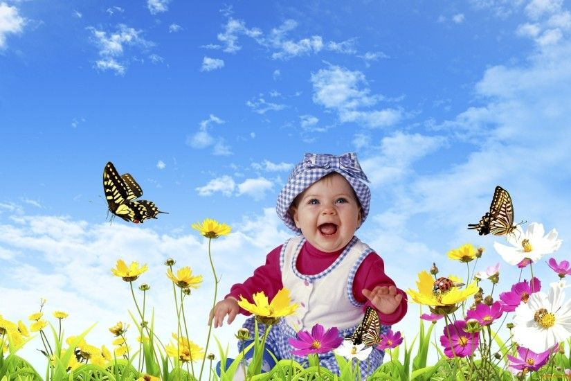 1920x1200 Wallpaper child, nature, boy, smile, happy, sky, flowers,