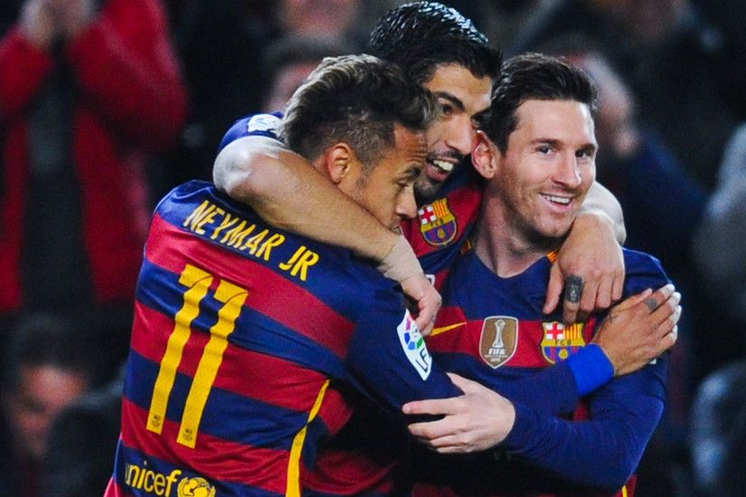 Barcelona Neymar Luis Suarez Lionel Messi After The Goal