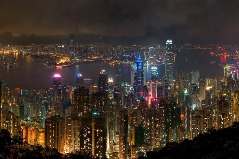 Preview wallpaper hong kong, city, night, landscape 1920x1080
