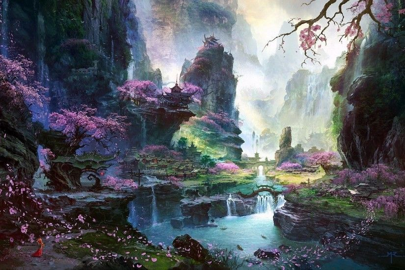 fantasy art asian cherry blossom wallpaper hd
