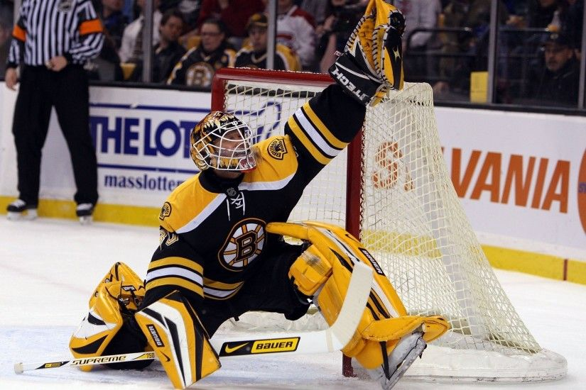 nhl hockey tim tomas boston bruins save nhl hockey goalkeeper jump