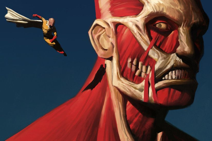 Anime - Crossover One-Punch Man Saitama (One-Punch Man) Colossal Titan