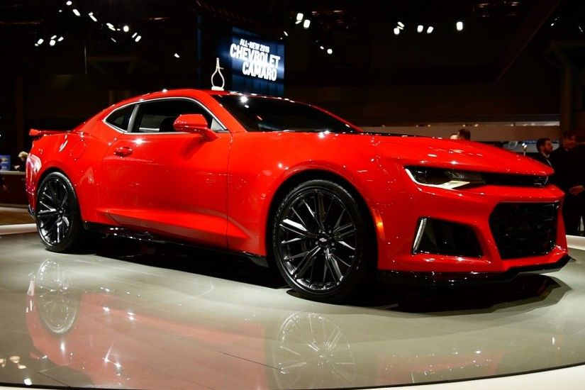 Red Chevrolet Camaro ZL1 sports coupe 2017
