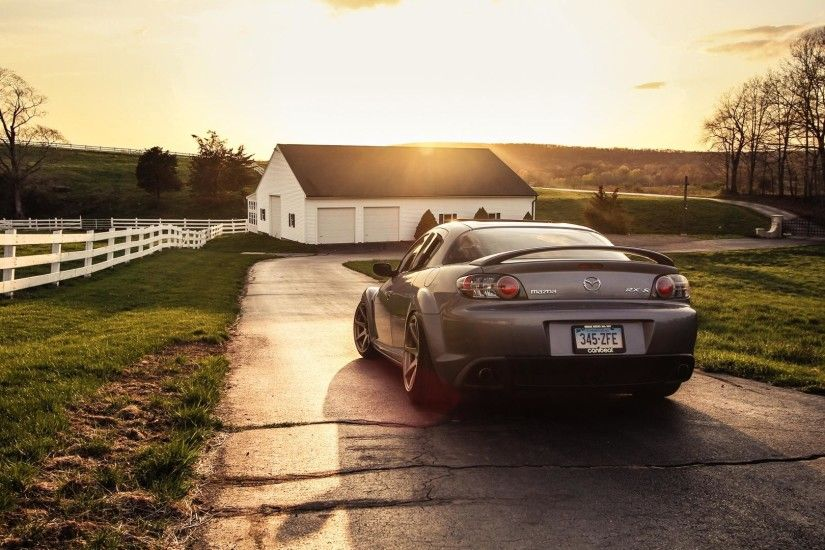Mazda RX-8 in the sunset