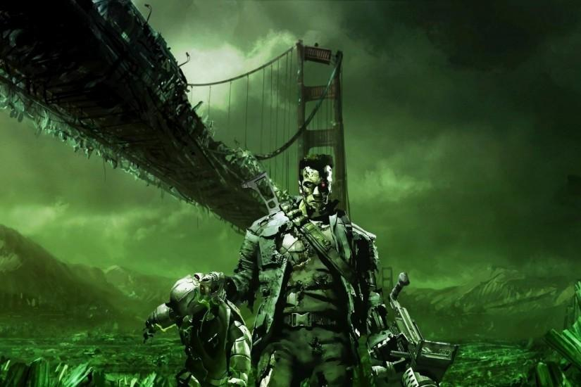 Preview wallpaper terminator, bridge, destruction, weapons 2560x1440