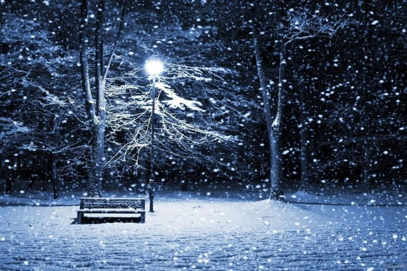 Download 1920x1080 Winter Street With Bench And Lamp Post Wallpaper