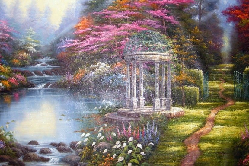 Flowers, Gazebo, The Garden Of Prayer, Picture, Painting, Thomas Kinkade