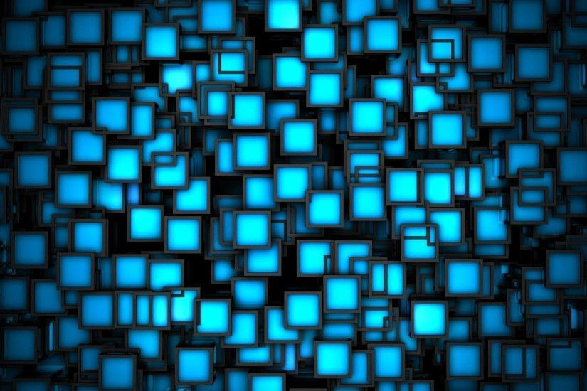 3D Blue Neon Cubes HD Wallpapers - High Definition Wallpapers