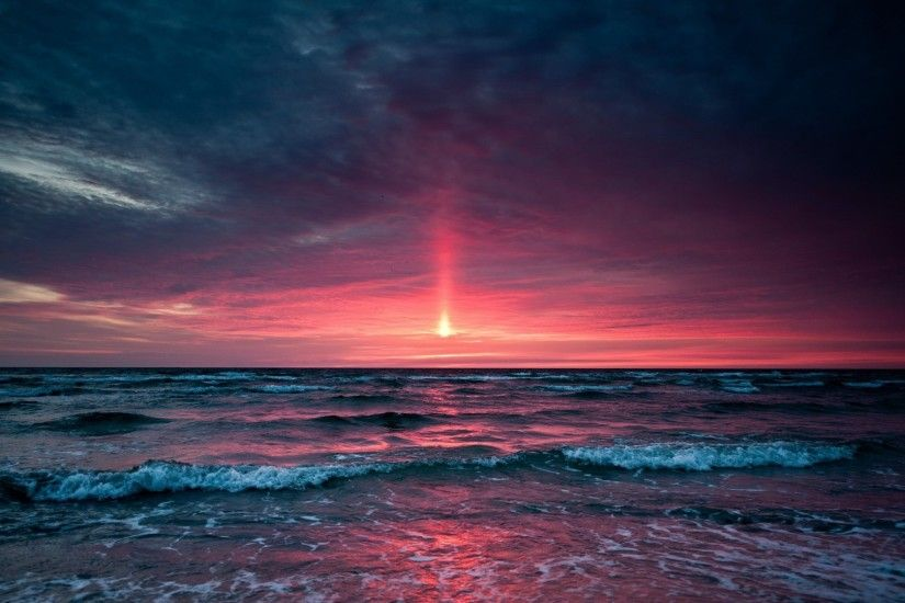 Purple Beach Sunset HD | Sunset Over Ocean