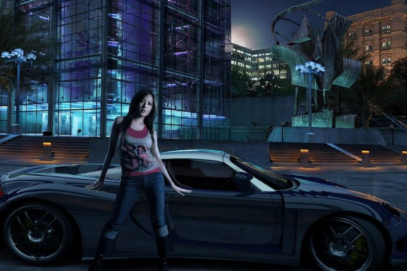 3840x2160 Wallpaper nfs, need for speed, girl, car, house, night