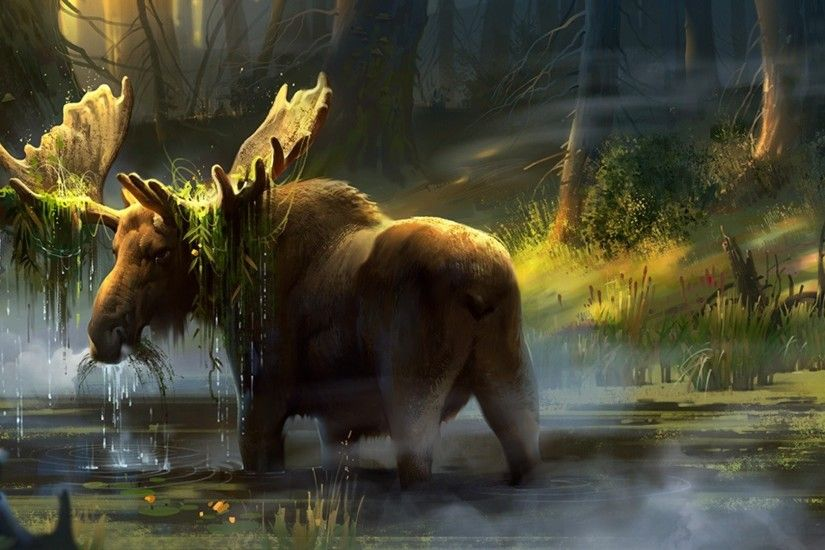 ... forest moose art horn tree swamp hd wallpaper ...