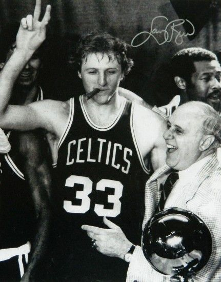 ... Larry Bird Signed Celtics Cigar Celebration With Red Auerbach B&W