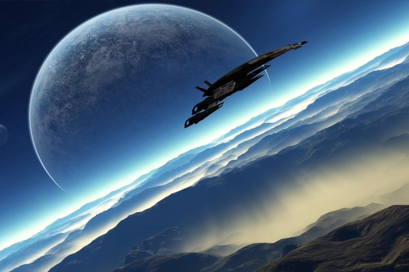 Wallpaper Mass effect, Ship, Planets, Mountain, Horizon HD, Picture, Image