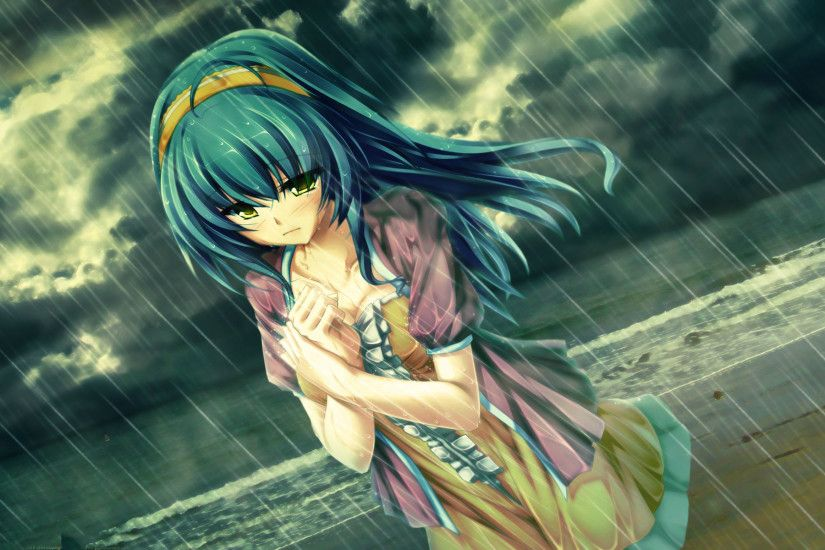 Sad Anime Girl Crying in Rain Alone