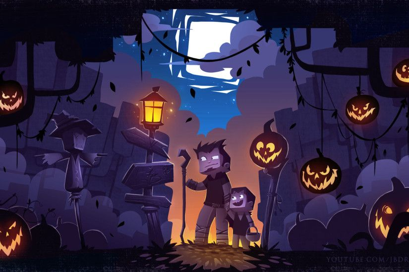 Minecraft Halloween Background by John.B