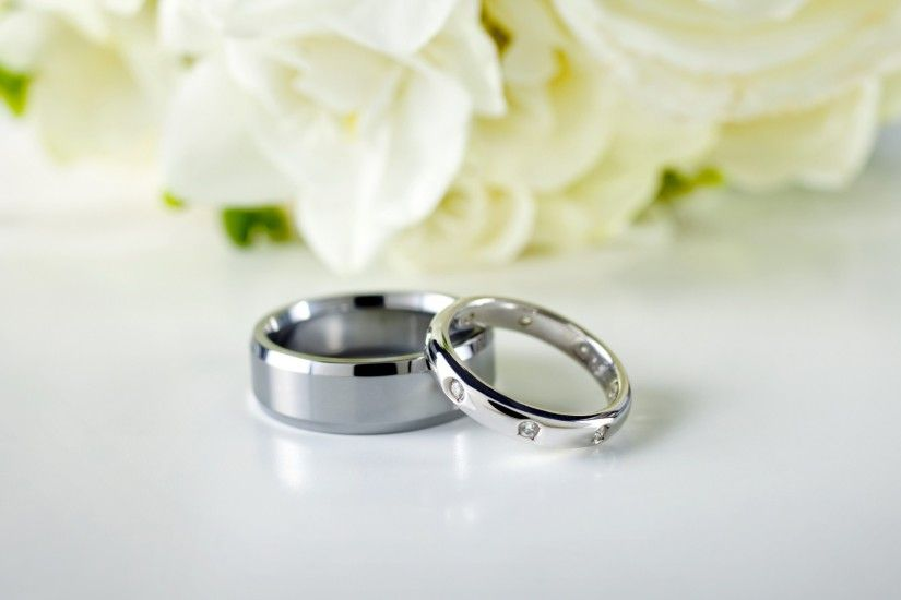 1920x1080 Wallpaper rings, couple, wedding, silver, flowers