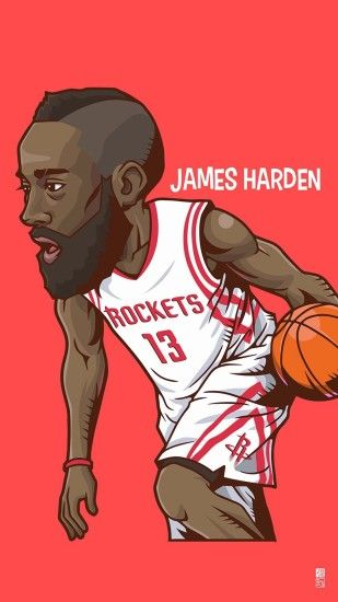 "Tap to see Collection of Famous NBA Basketball Players Cute Cartoon  Wallpapers for iPhone. - ""Fear the Beard"""