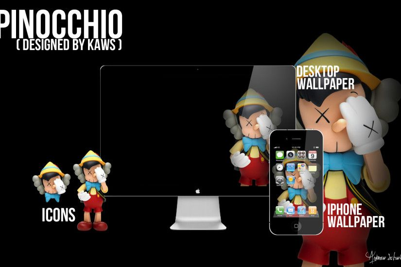 ... KAWS Pinocchio Wallpaper and Icons by acvschwartz
