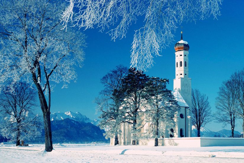 High resolution known places desktop wallpaper of St. Coloman Church In  Winter, Schwangau, Bavaria, Germany (ID: